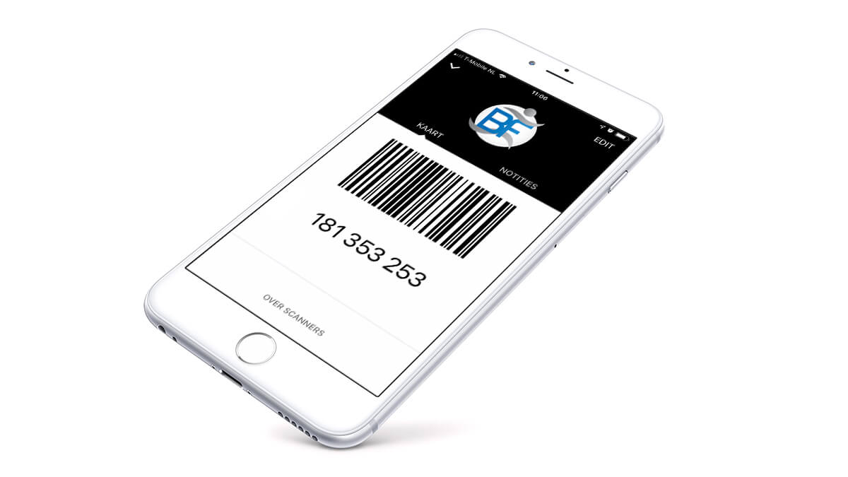 Telefoon met barcode om in te checken